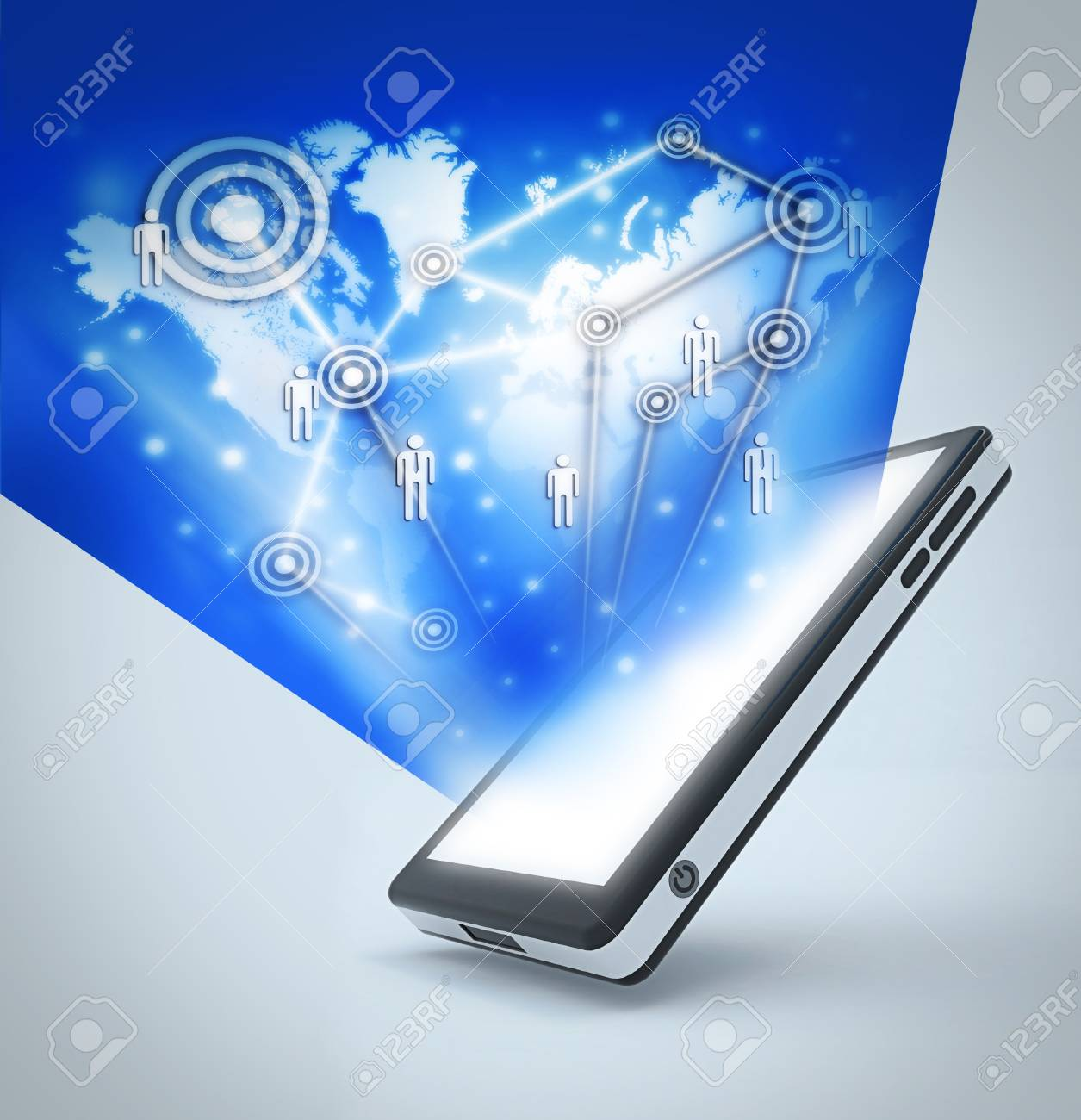 Communication technology with mobile phone to Making the world smaller Stock Photo - 18968190