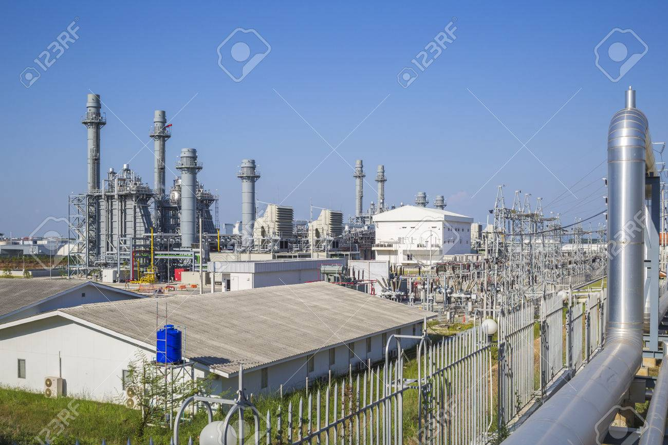 Gas turbine power plant with blue sky , Eastern of Thailand - 41943954