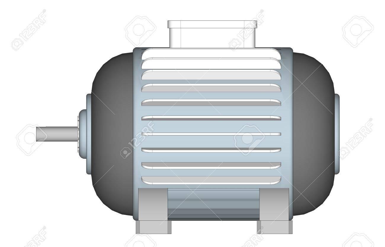 Moteur à Induction Conception De Moteur électrique Illustrator 3d Sur Fond Blanc