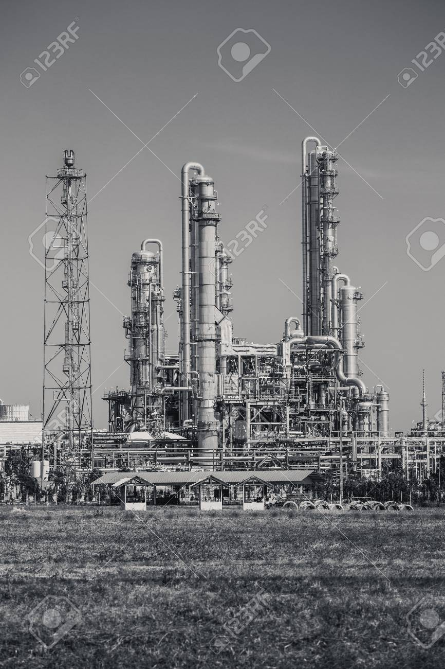 Oil refinery industrial plant black and white tone stock photo 70556758