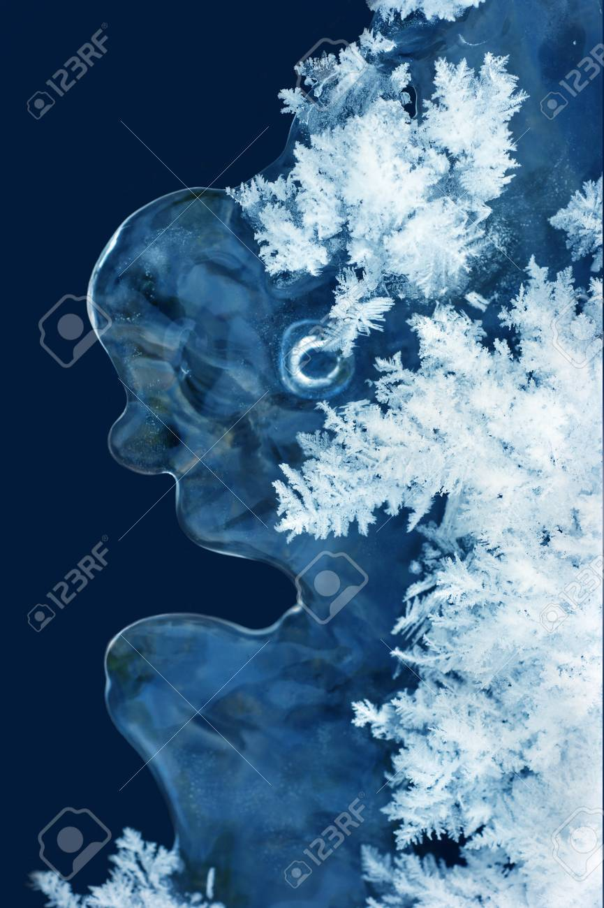 Blue icicle with snowflakes in the form of a person. Stock Photo - 11933166