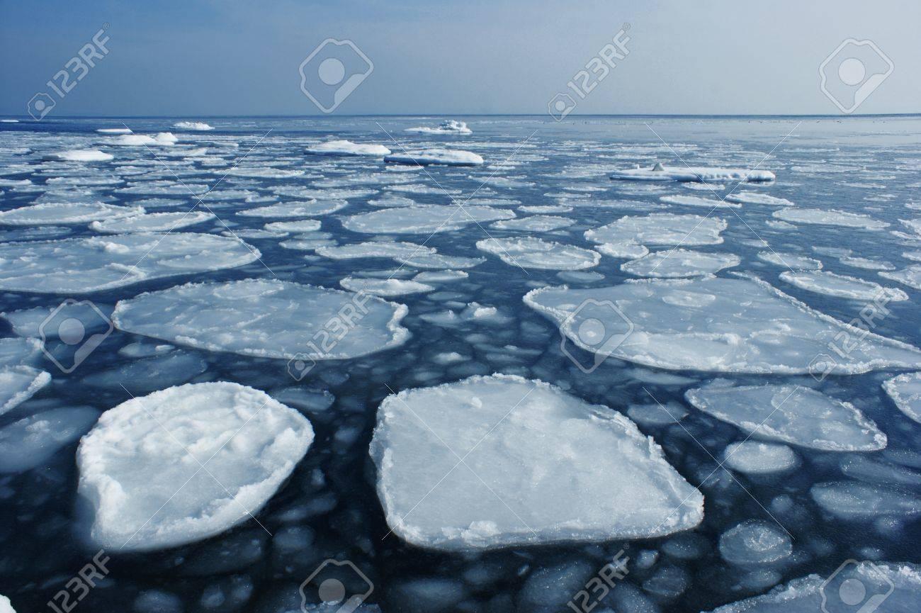 Rounded ice floe to the sea to the horizon. Stock Photo - 17132657