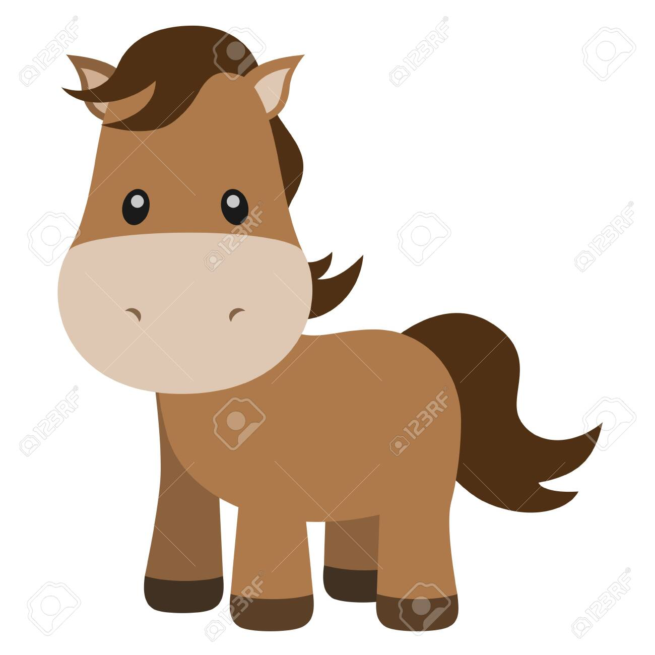 Cute Horse Vector Illustration On White Royalty Free Cliparts Vectors And Stock Illustration Image 135712165