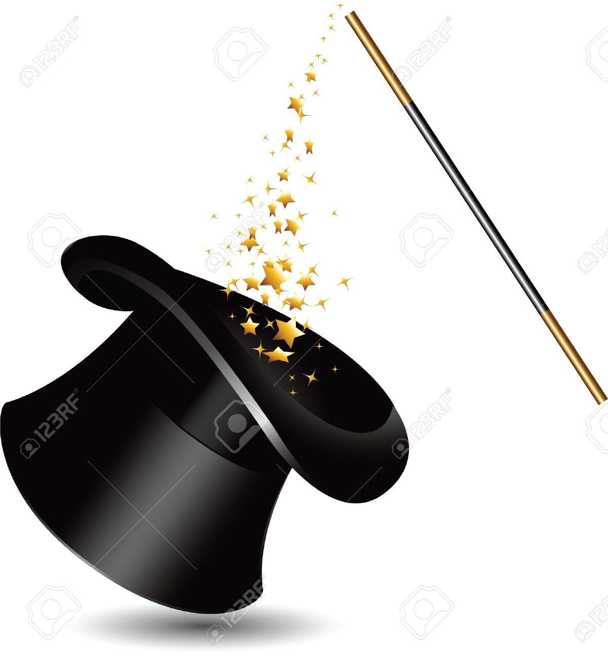 chapeau magicien chapeau magique et la baguette avec des brillants