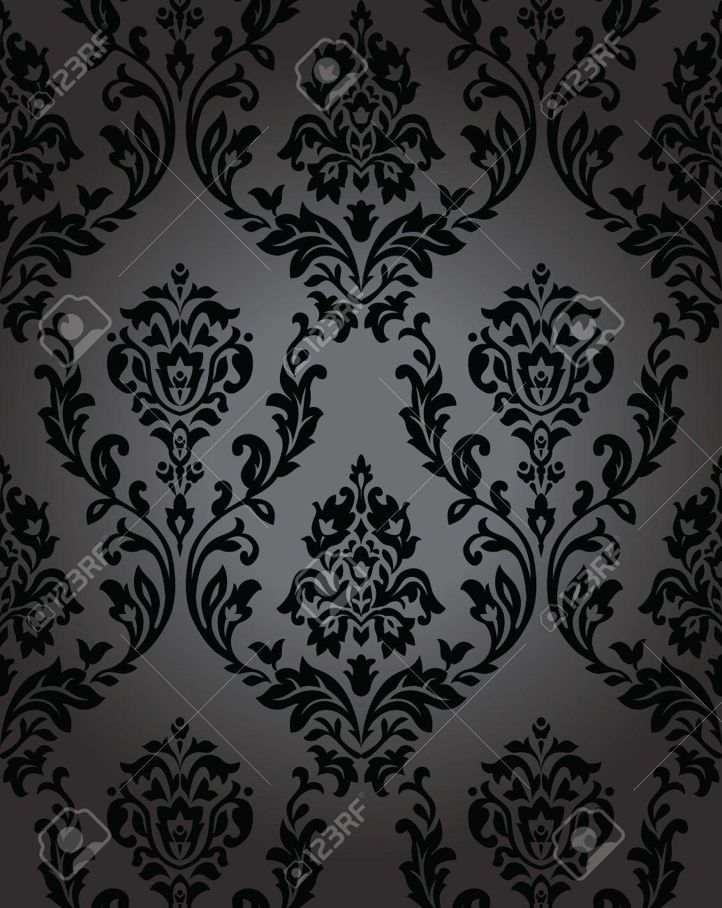 Seamless Wallpaper Baroque Black Royalty Free Cliparts, Vectors