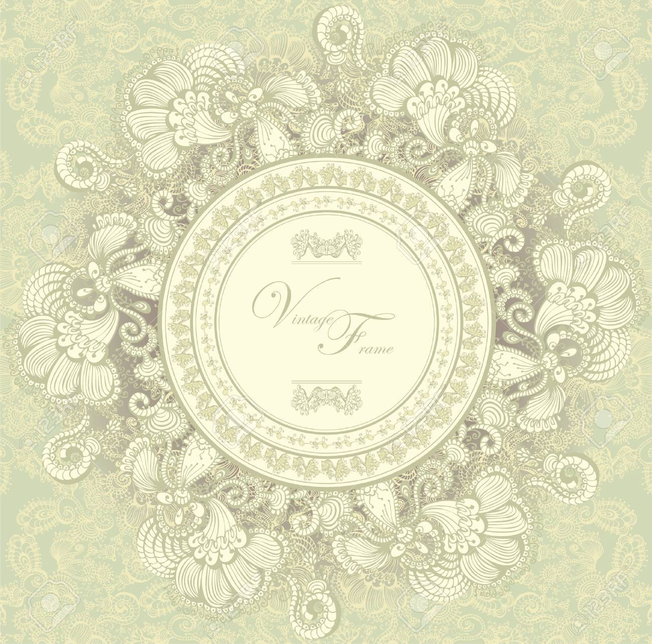 Vintage template with decorative birds, hand drawn Stock Vector - 12084022