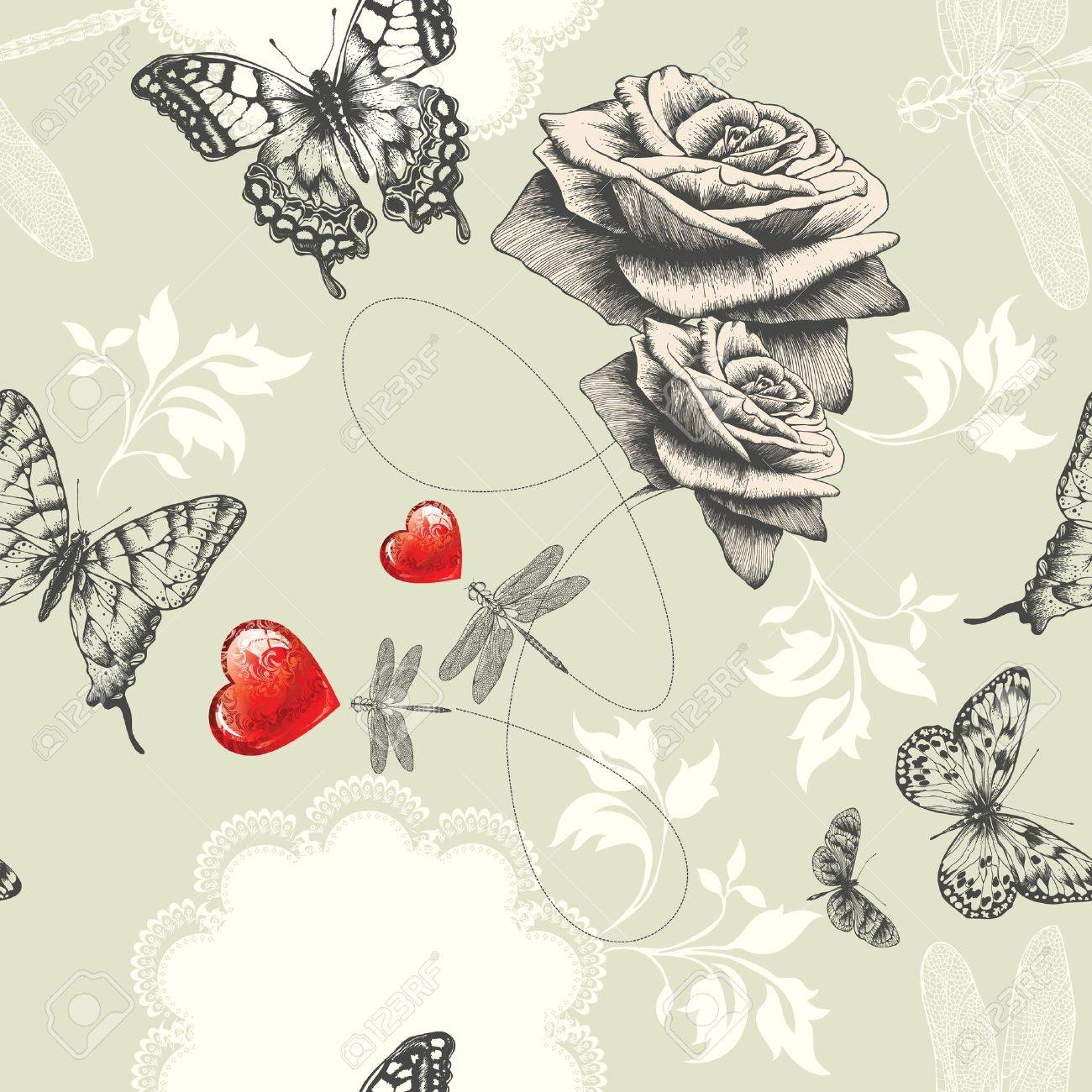 Best Wallpaper Butterfly Hand - 12487590-seamless-wallpaper-with-roses-butterflies-and-red-hearts-hand-drawing-vector-  You Should Have_32758.jpg