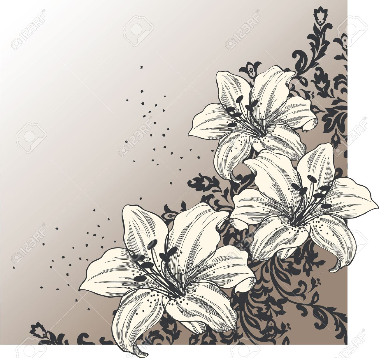 Abstract Background With Blooming Lilies Royalty Free Cliparts