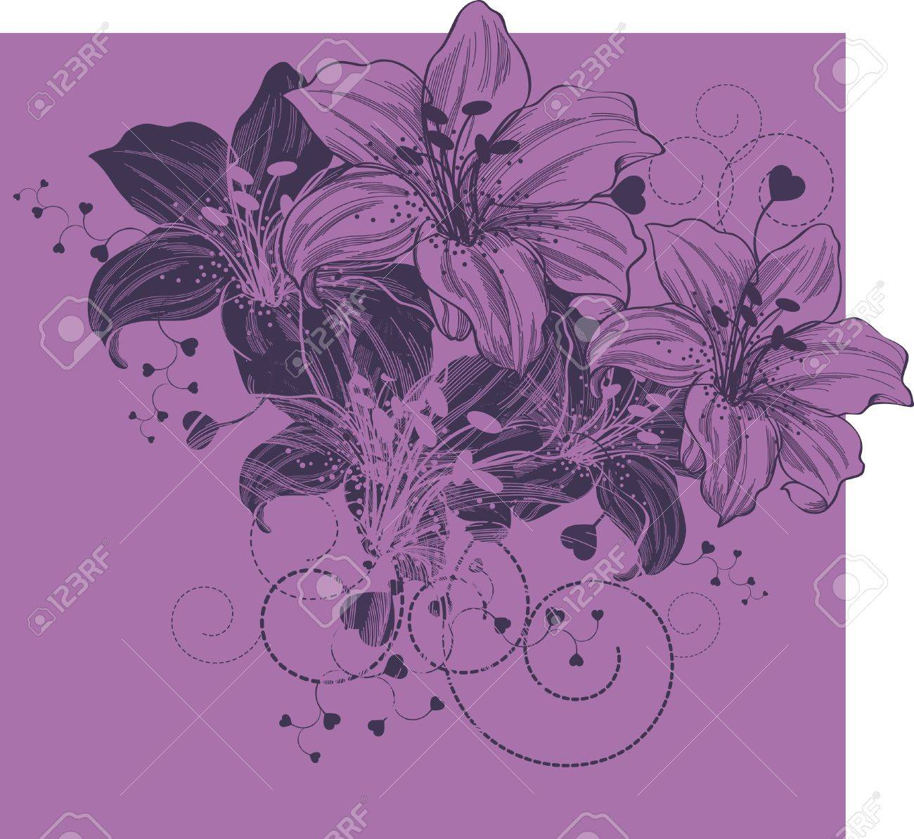 Floral background with blooming lilies and heart Stock Vector - 12816684