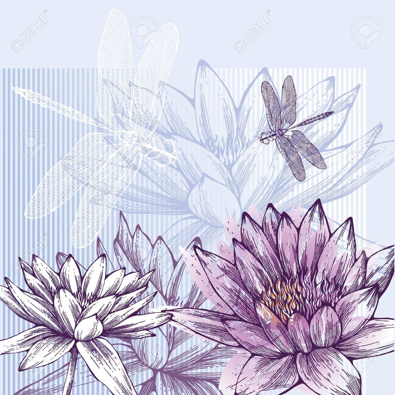 Floral background with blooming water lilies and dragonflies flying Stock Vector - 12816711