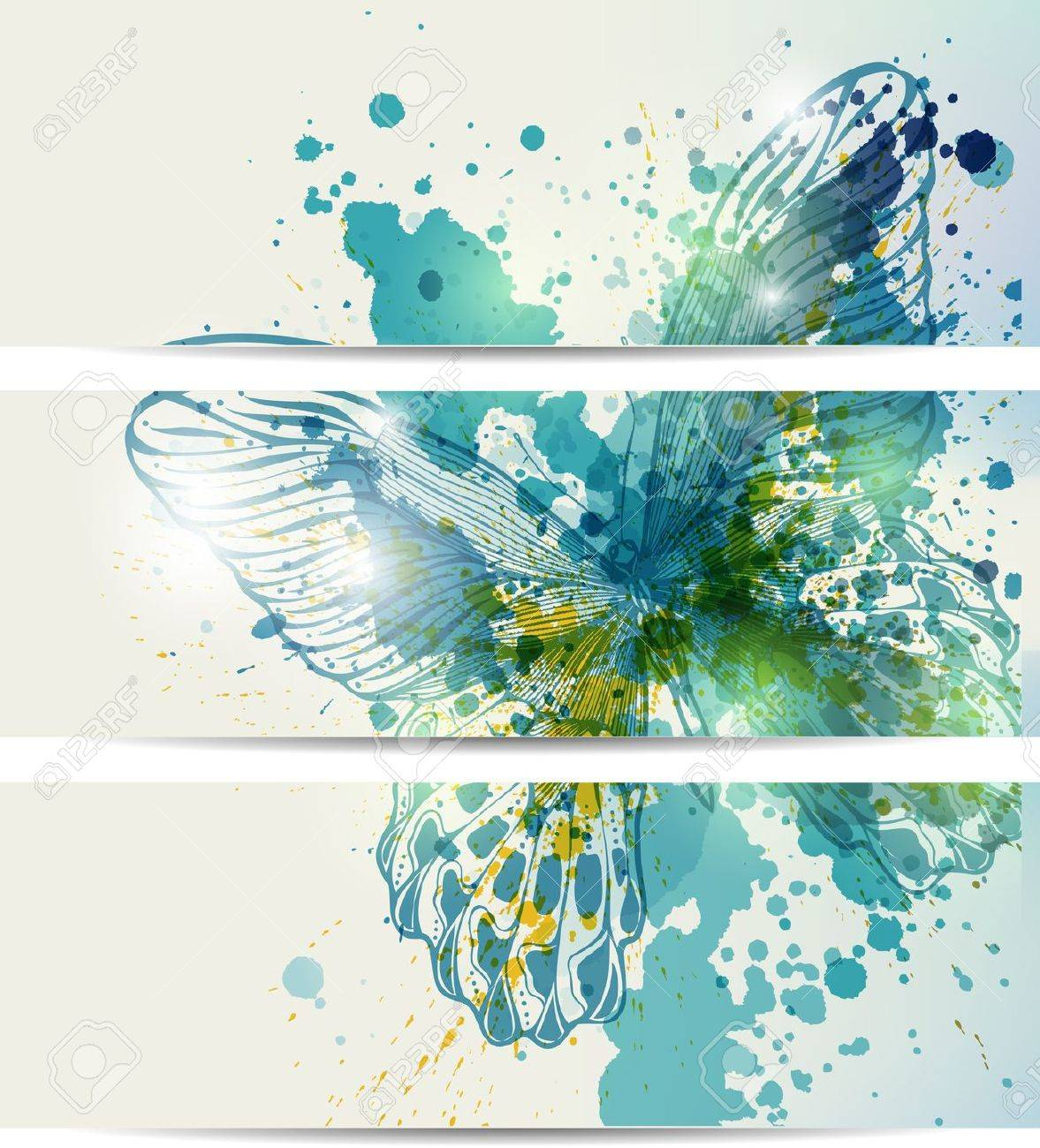 Set of three banners with butterflies and abstract blots Stock Vector - 14439809