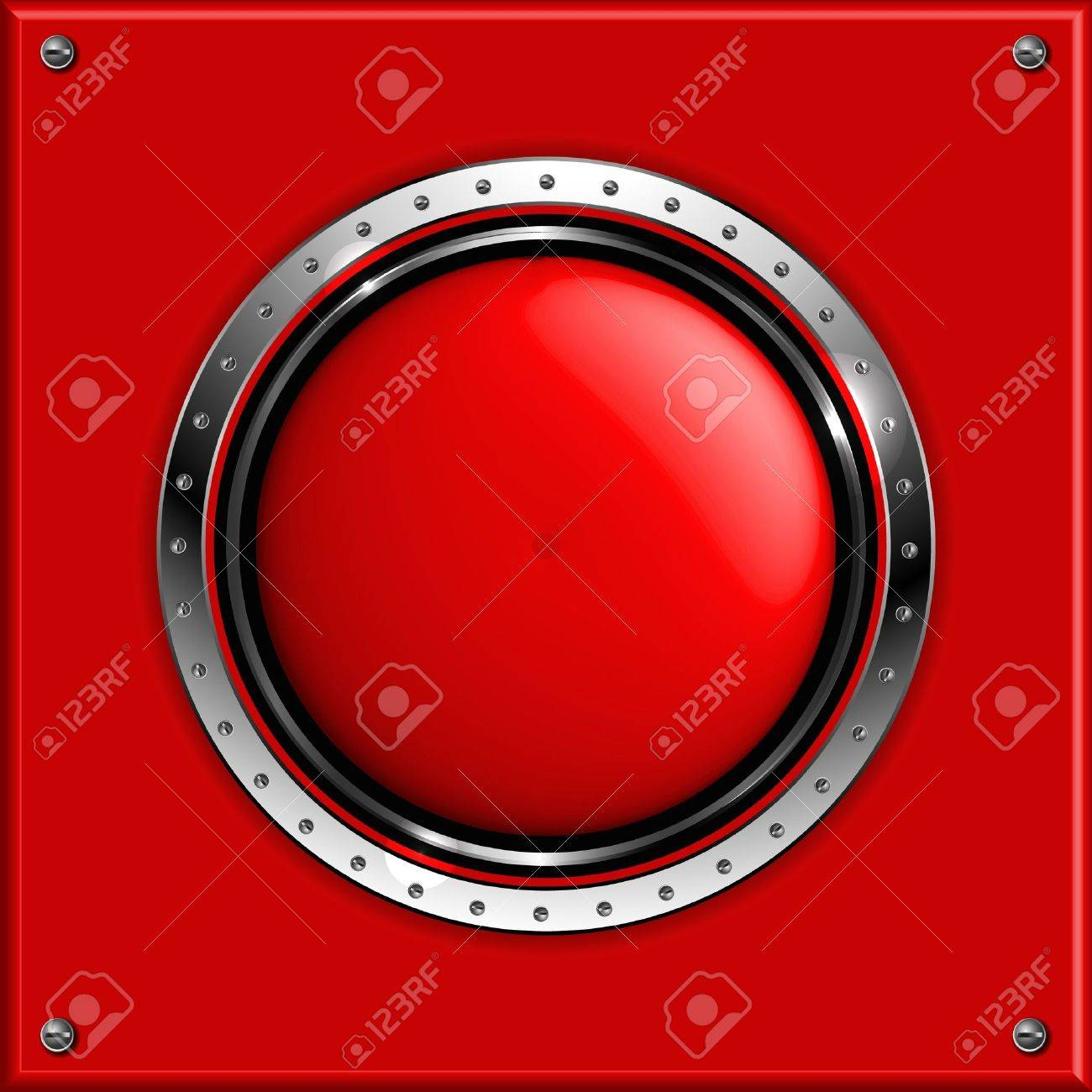 Red abstract metallic background with round glossy banner Stock Vector - 14620402