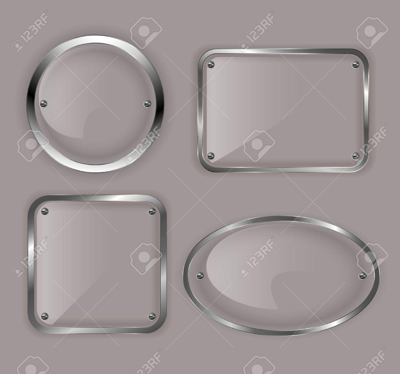 Set of glass plates in metal frames illustration Stock Vector - 14620405