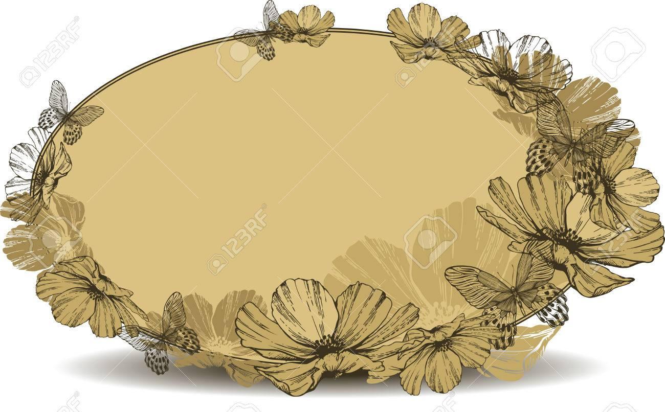 Marco Oval De La Vendimia Con Las Flores Y Las Mariposas ...