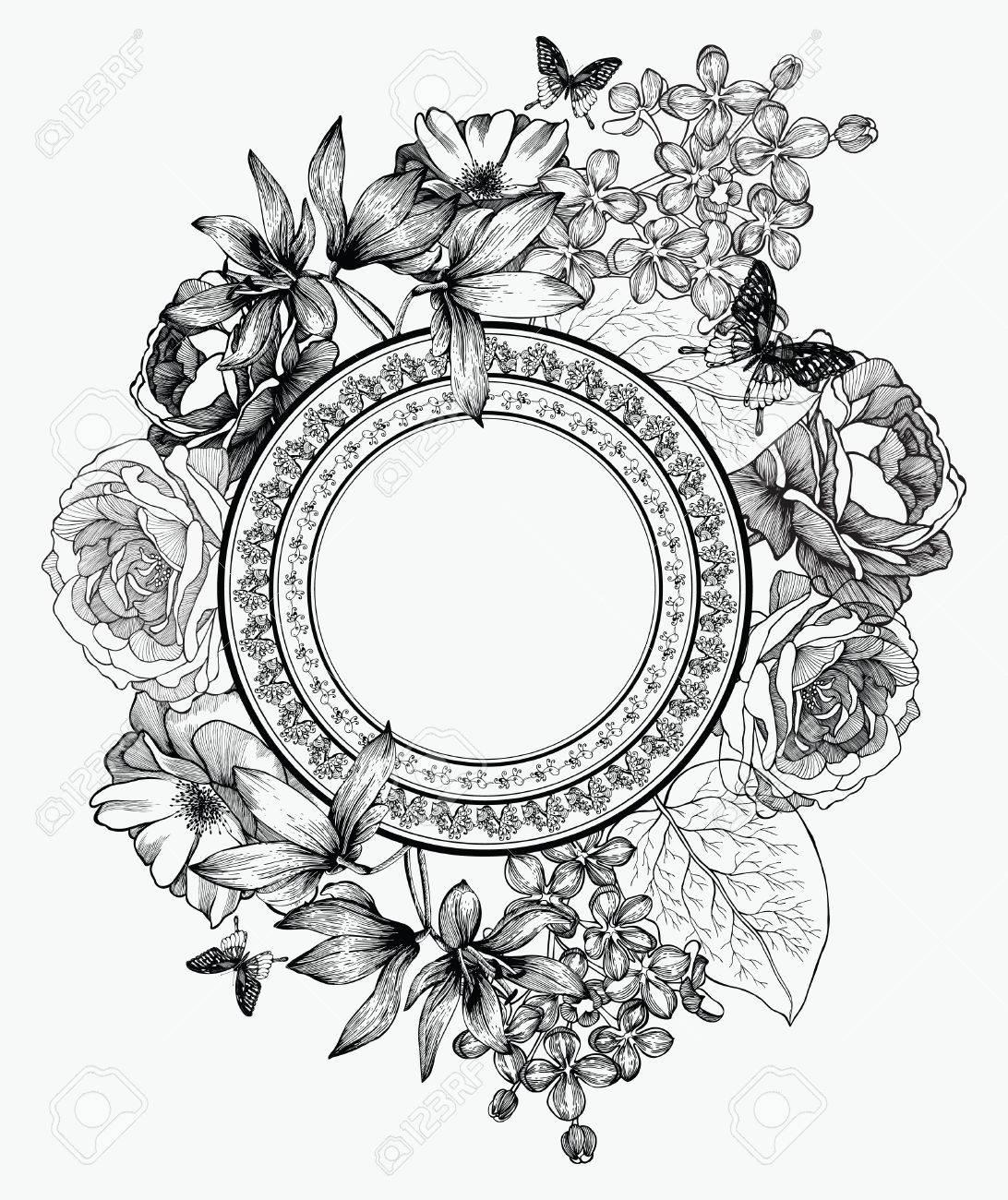 Banque dimages , Noir et blanc illustration vectorielle. Cadre avec des fleurs et des papillons, la main,dessin.