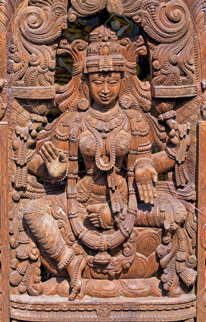 Wooden Statue of Hindu Goddess Lakshmi Stock Photo - 13688304