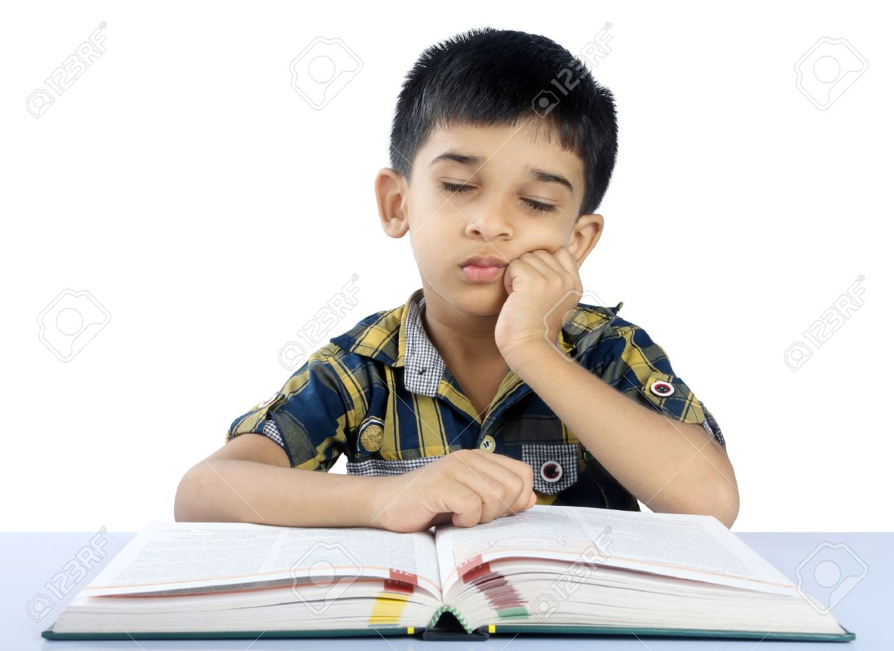 School Boy Sleeping On Book Stock Photo