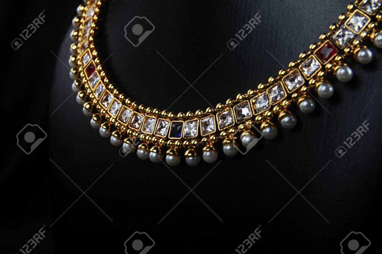 Indian Traditional Gold Necklace With Pearls Stock Photo Picture And Royalty Free Image Image 58815562