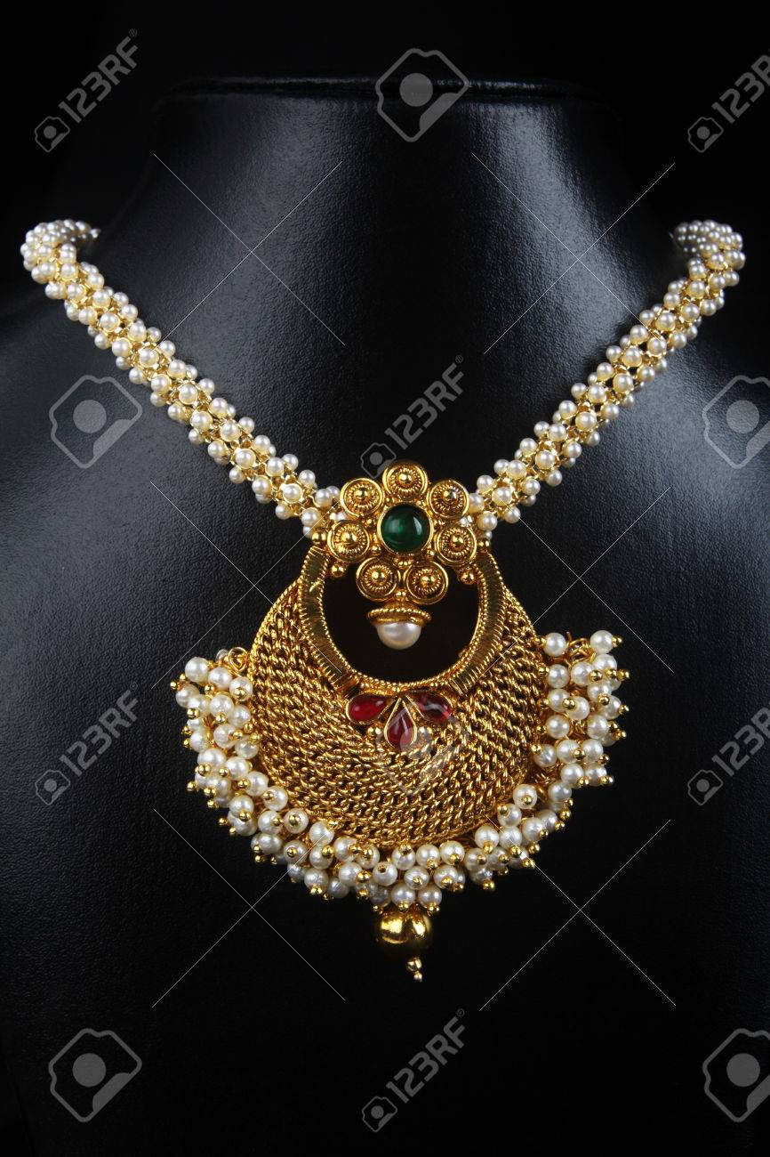 Indian Traditional Gold Necklace With Pearl Stock Photo Picture And Royalty Free Image Image 58815632