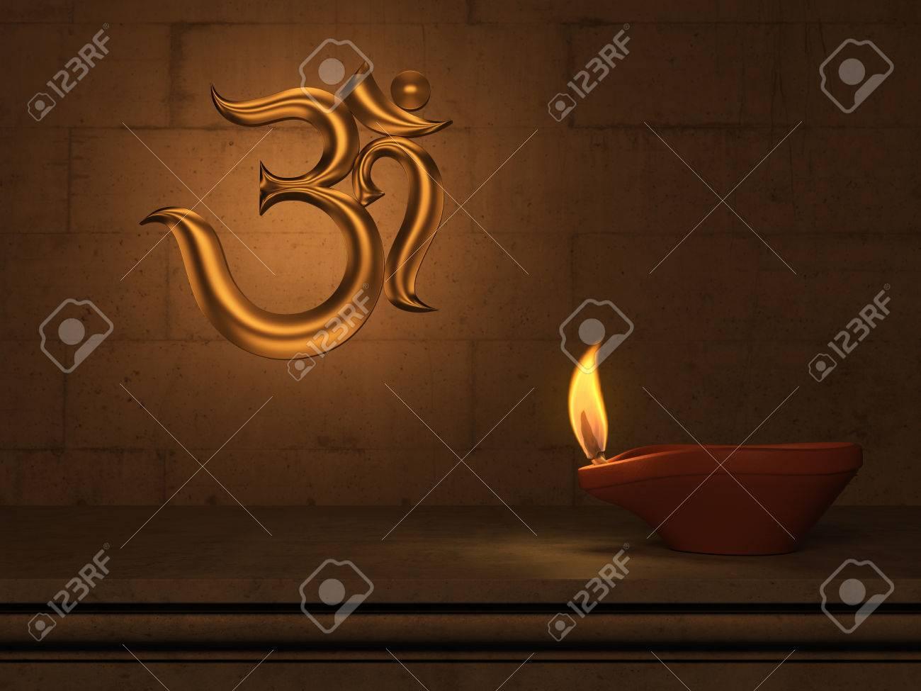 Lampe A Huile Traditionnelle Indienne Avec Symbole Om Banque D