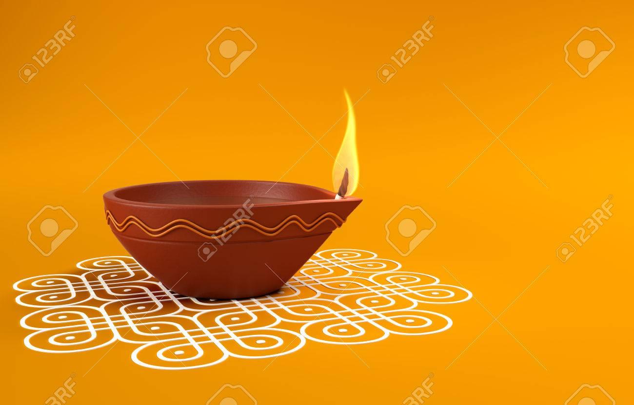 Lampe A Huile Traditionnelle Indienne Avec Kolam Design Banque D