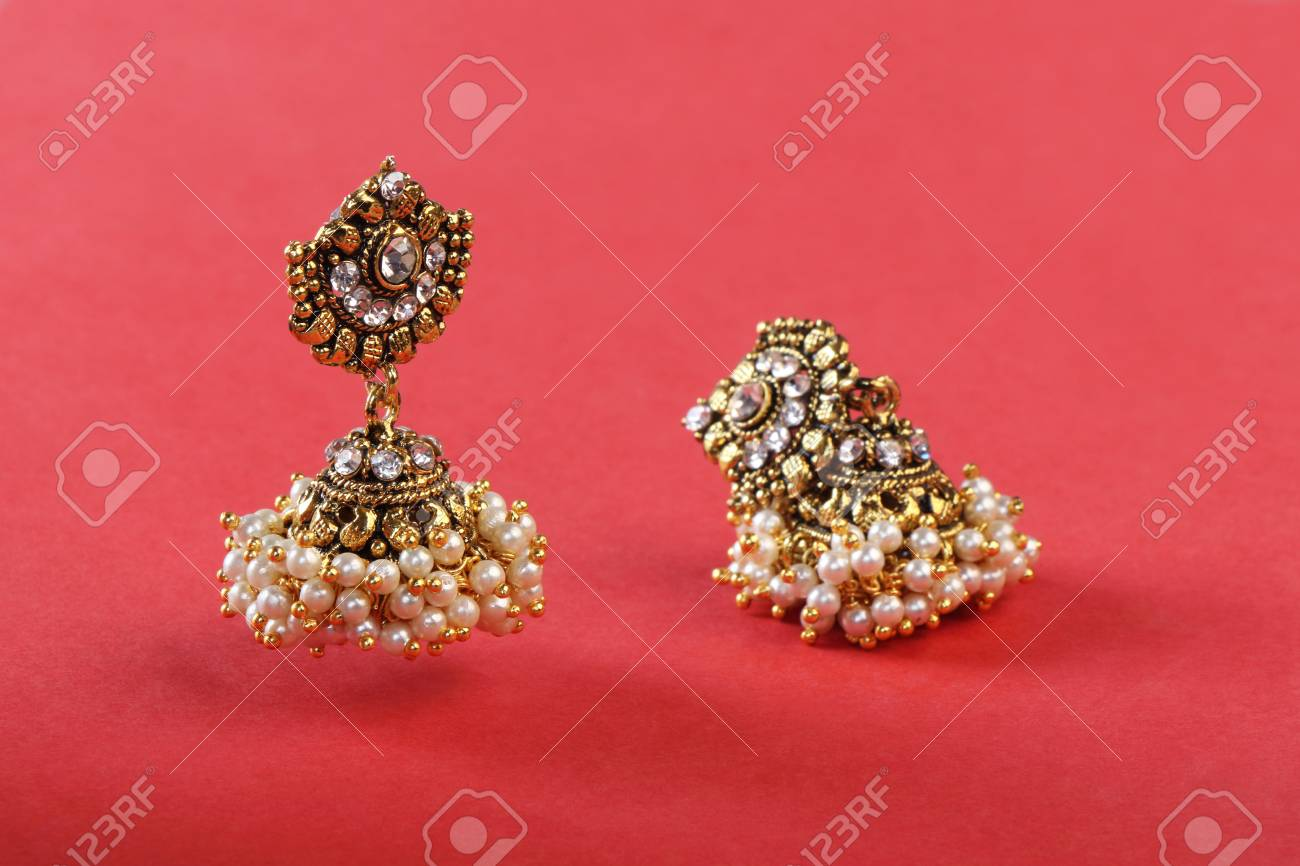 Indian Made Traditional Gold Earrings Stock Photo, Picture And ...