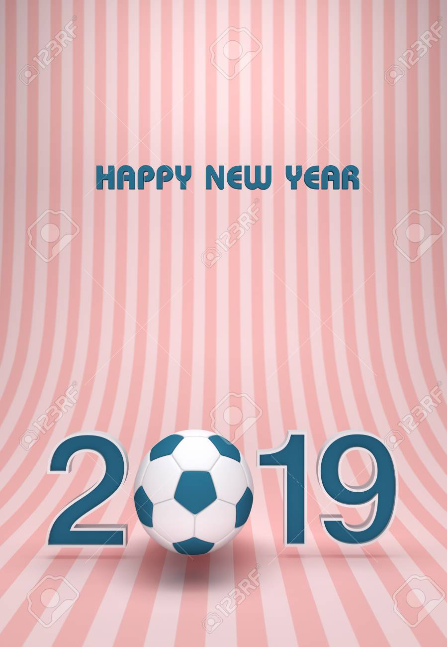New Year 2019 With Football 3d Rendered Image Stock Photo Picture
