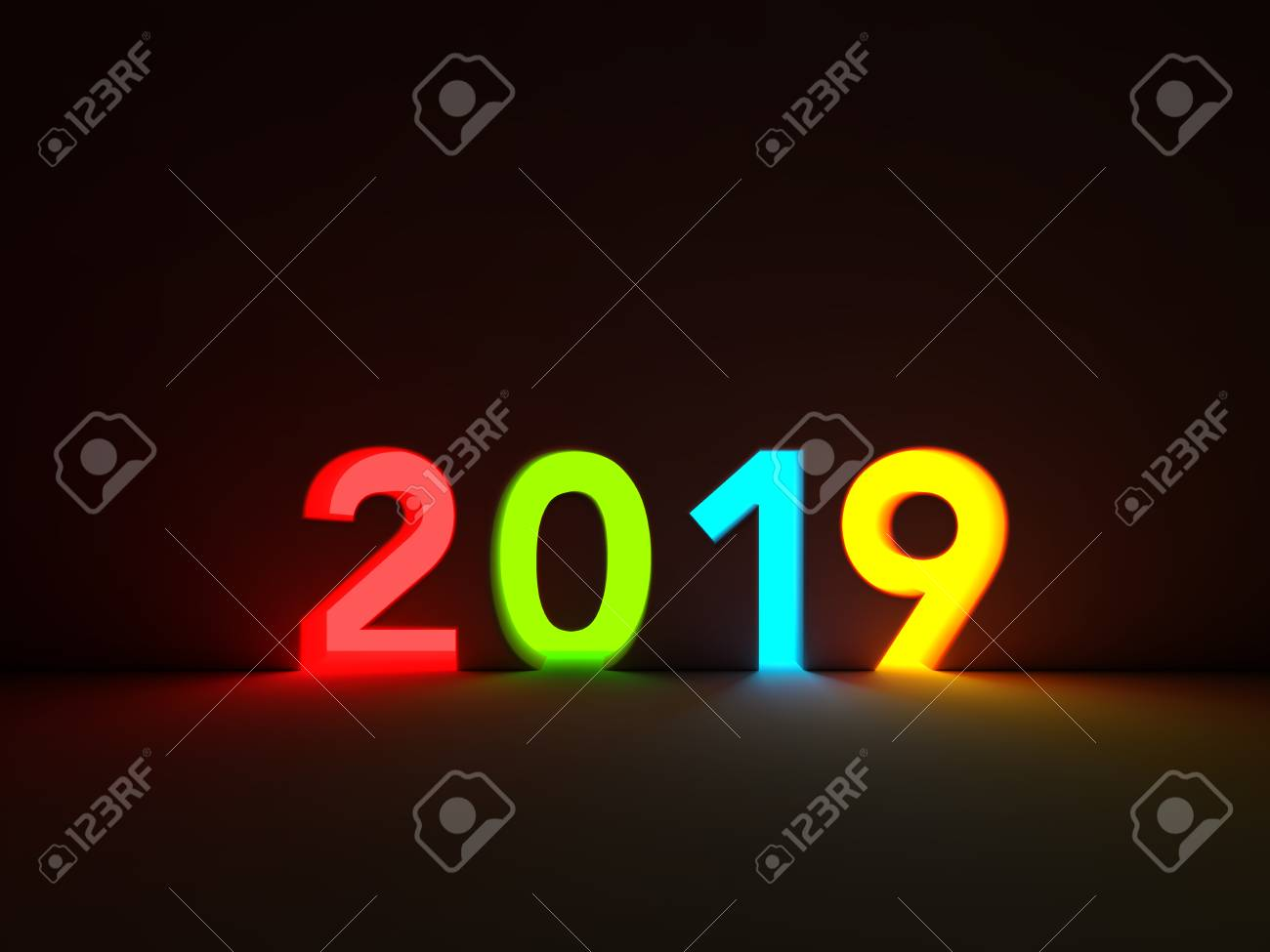 New Year 2019 Creative Design Concept with Lighting Effect -