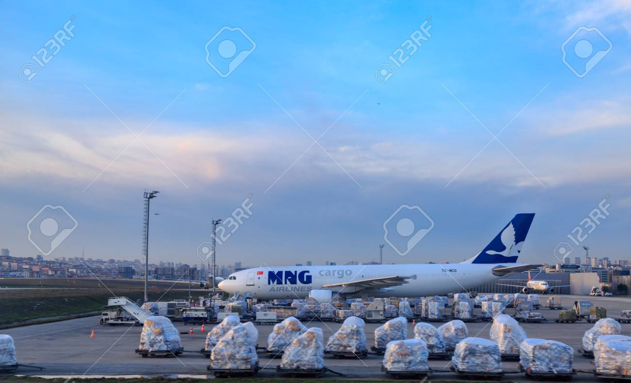 At Ataturk airport, Istanbul, Turkey - March 18, 2017 : MNG cargo