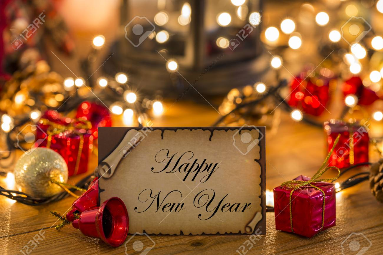 Greeting Card For New Year Or Christmas With Christmas Decors