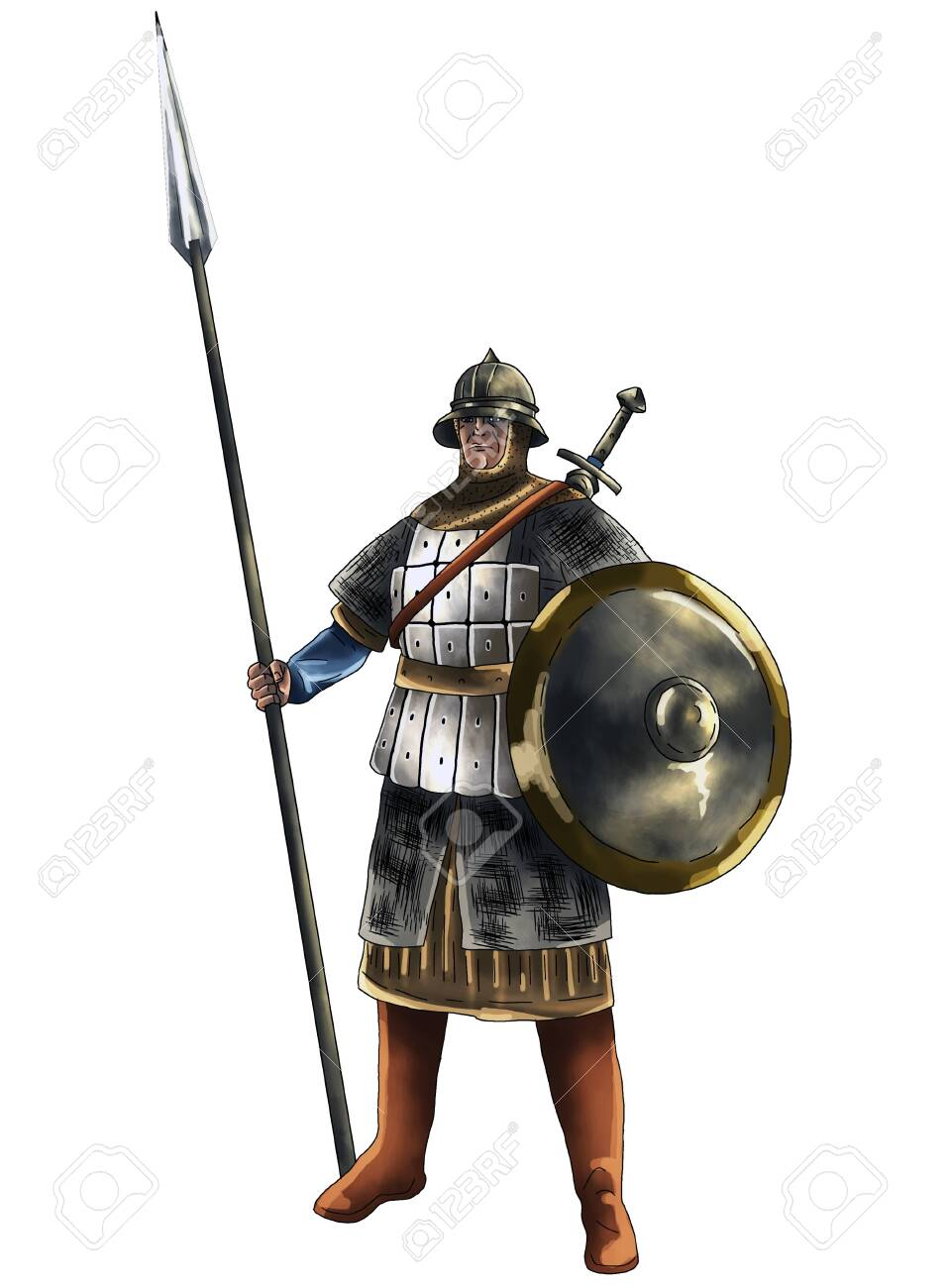 Warrior with spear and shield