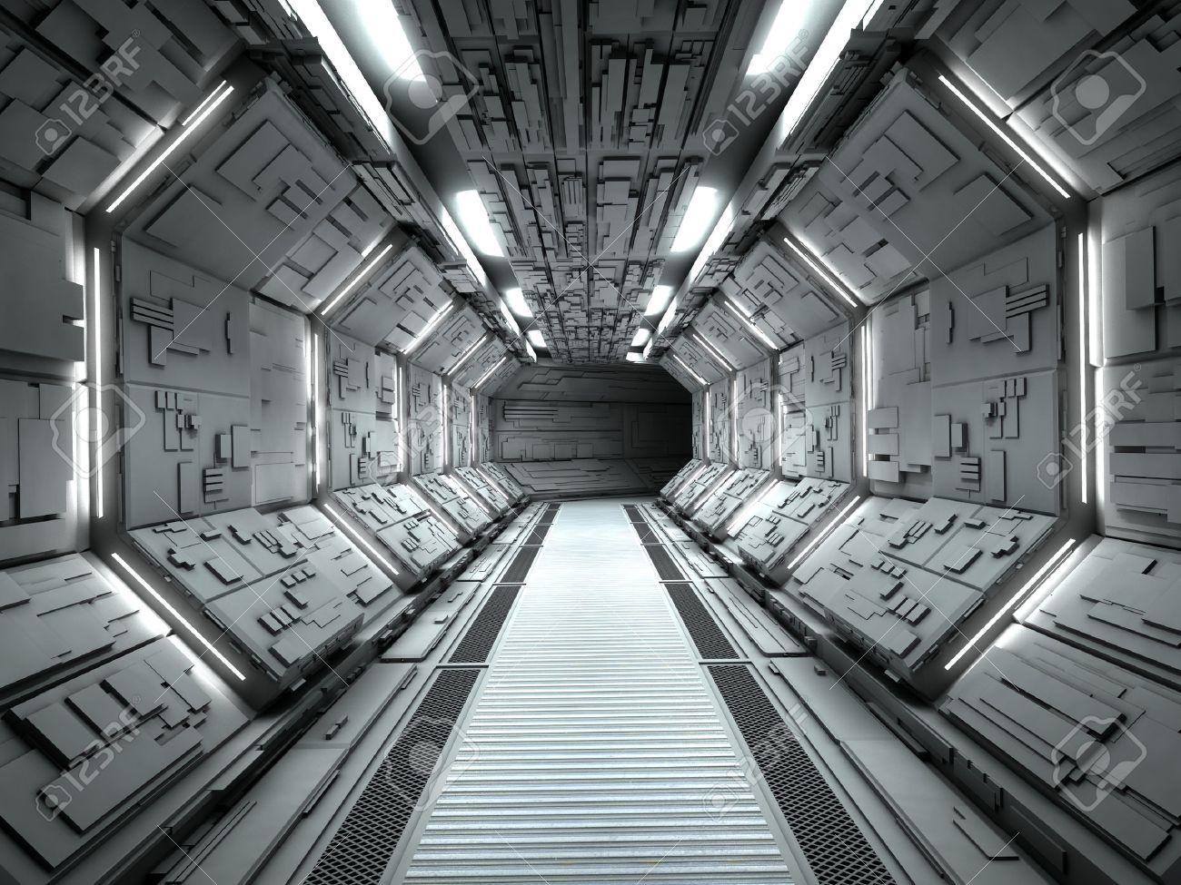 Futuristic spaceship interior 3d rendering - 54875085