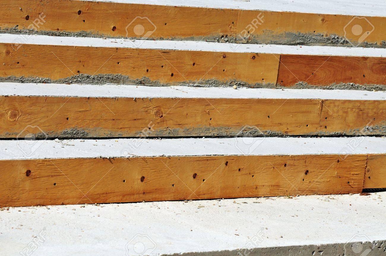 Banque Du0027images   Le Bois Et La Texture Des Surfaces De Béton Sur Escalier  En Construction