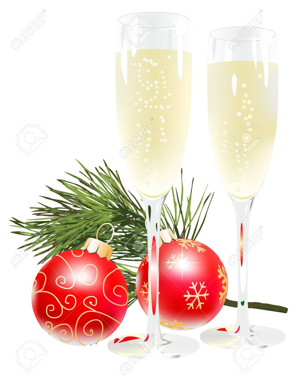 Champagne with christmas ball Stock Vector - 11350371