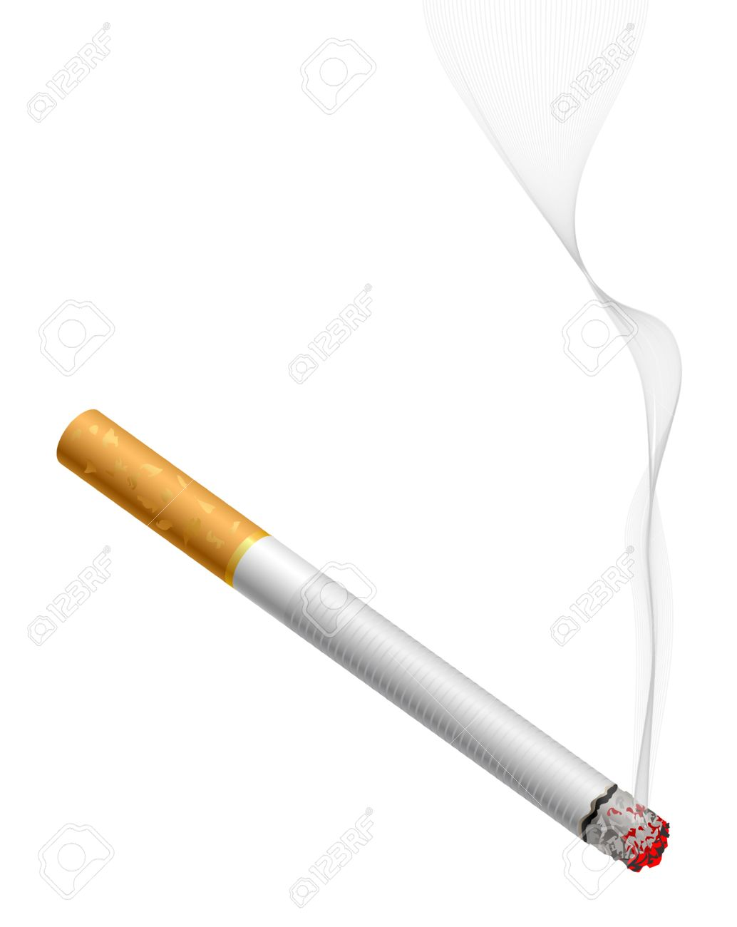 Smoldering cigarette with smoke isolated on white Stock Vector - 11575821