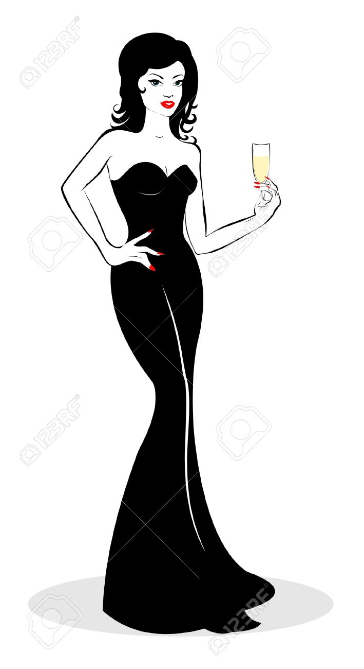 Girl with a glass of champagne in hand Stock Vector - 15558661