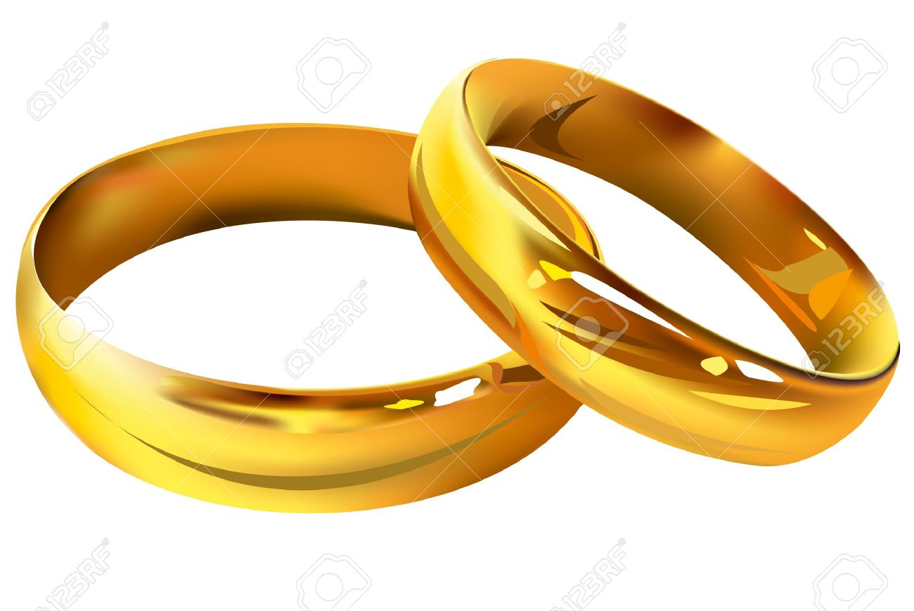 Couple of gold wedding rings on white background - 15558652