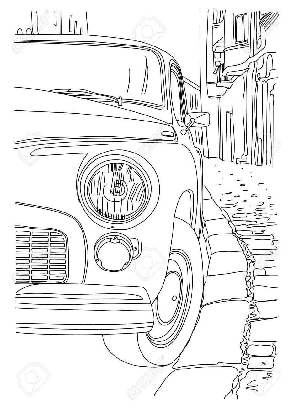 Eine Skizze Der Alten Autos In Der Nähe Der Bürgersteig Geparkt ...