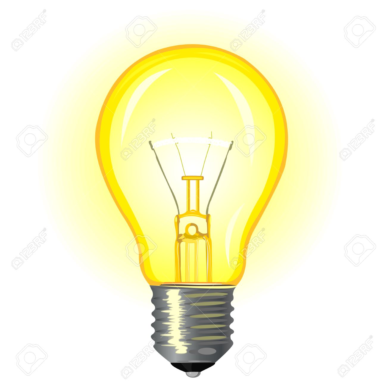 Bright Glowing Incandescent Light Bulb On A White Background Royalty