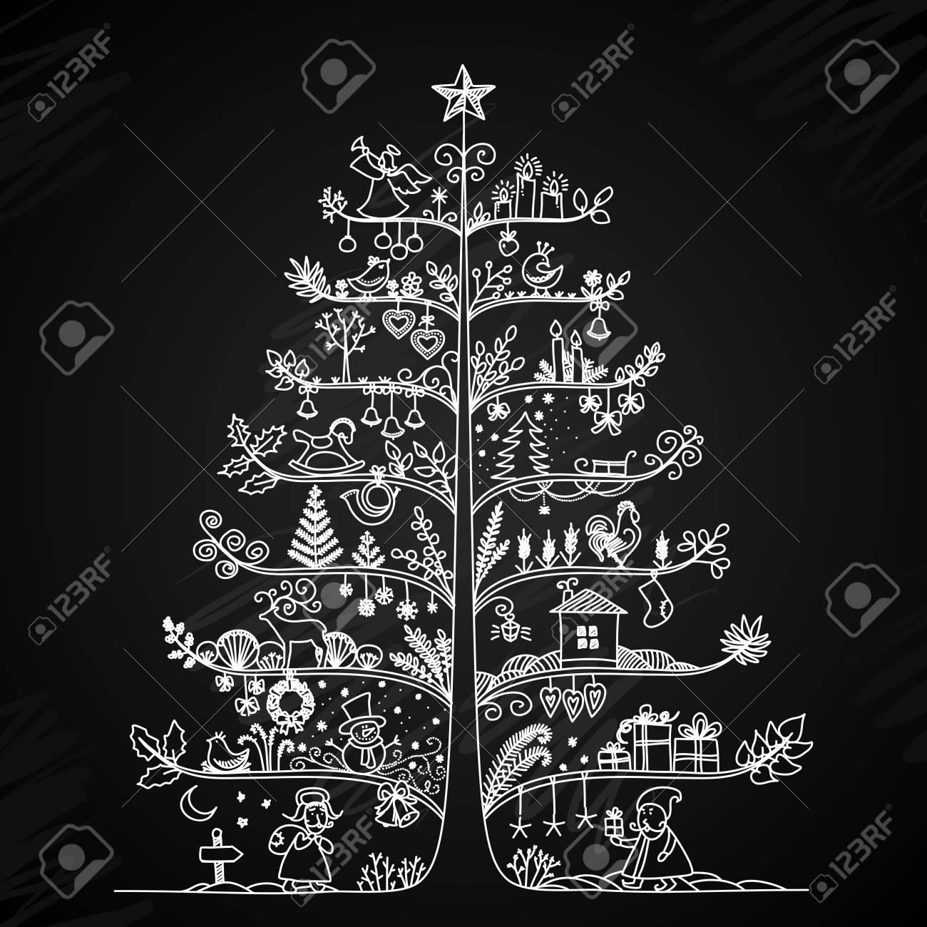 Disegni Di Natale Vettoriali.Carino Illustrazione Vettoriale Di Un Albero Di Natale In Stile Retro Styling Disegno Gesso Su Una Lavagna Il Concetto Di Vacanze Di Capodanno
