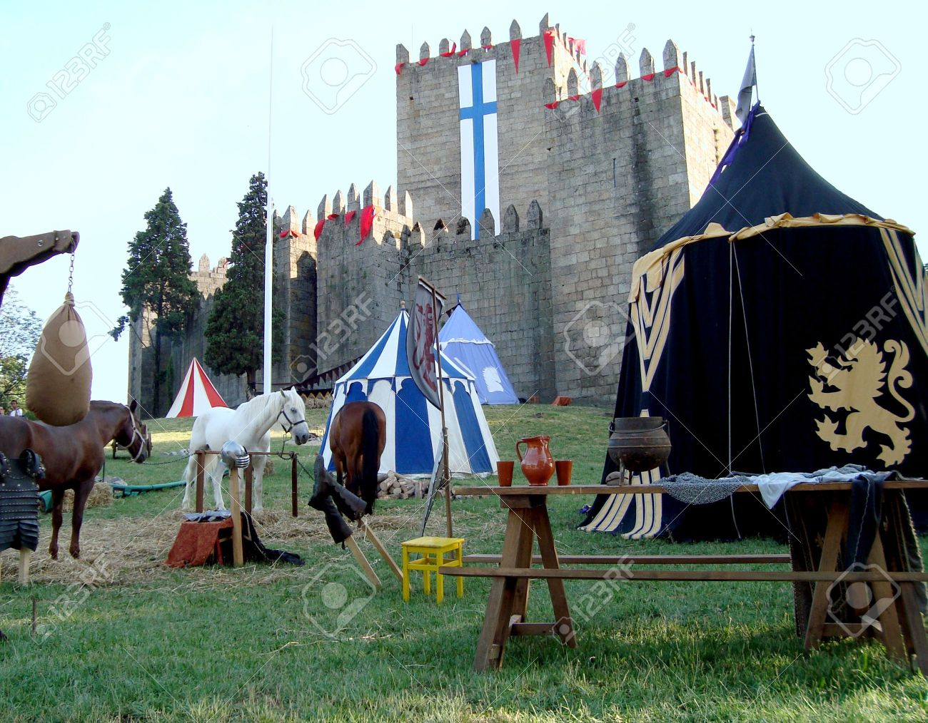 medieval castle and tents on a horse tournament Stock Photo - 5097239 & Medieval Castle And Tents On A Horse Tournament Stock Photo ...