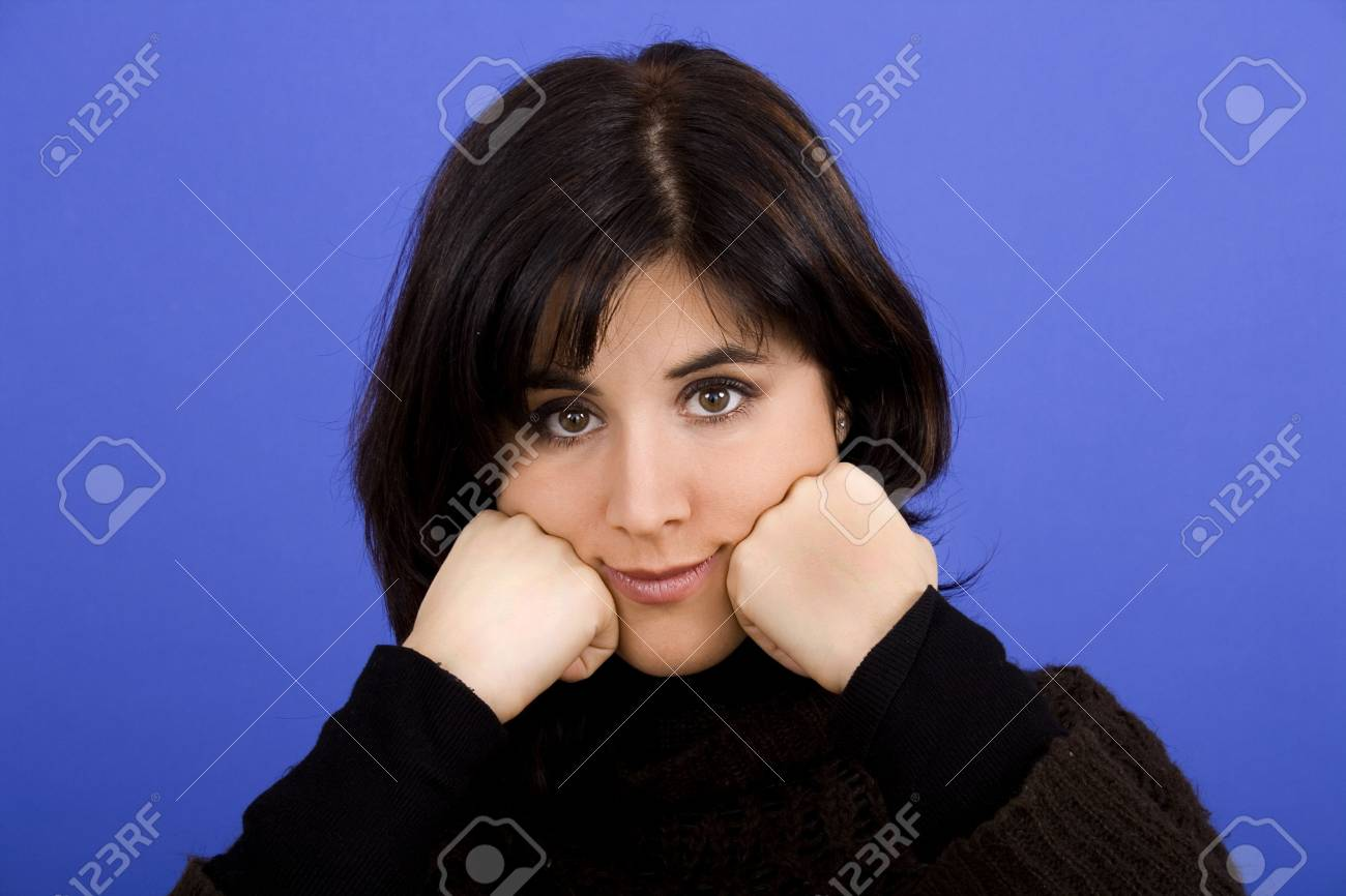 beautiful young woman portrait on a color background Stock Photo - 6428326