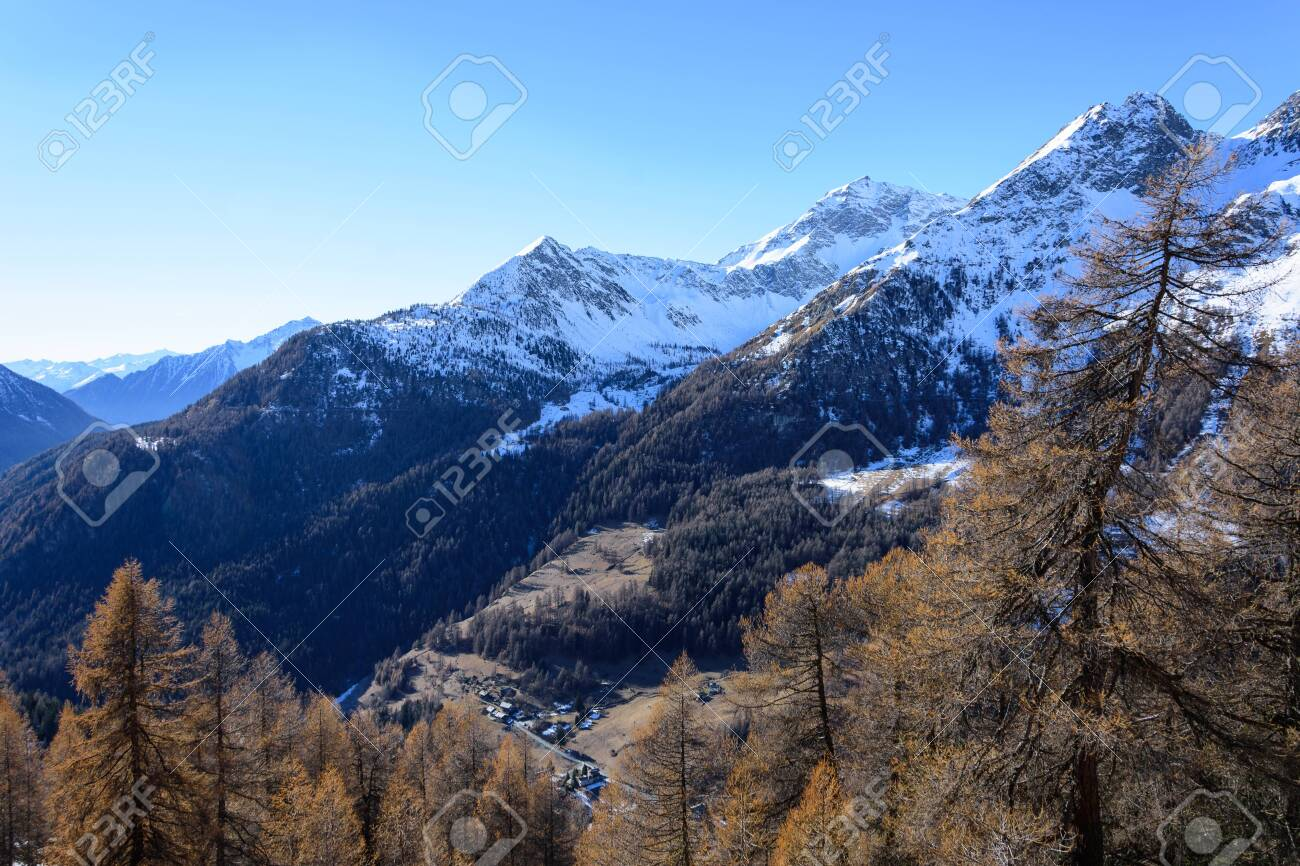 Panorama Of Snow Capped Mountains In Val D Ayas Valle D Aosta
