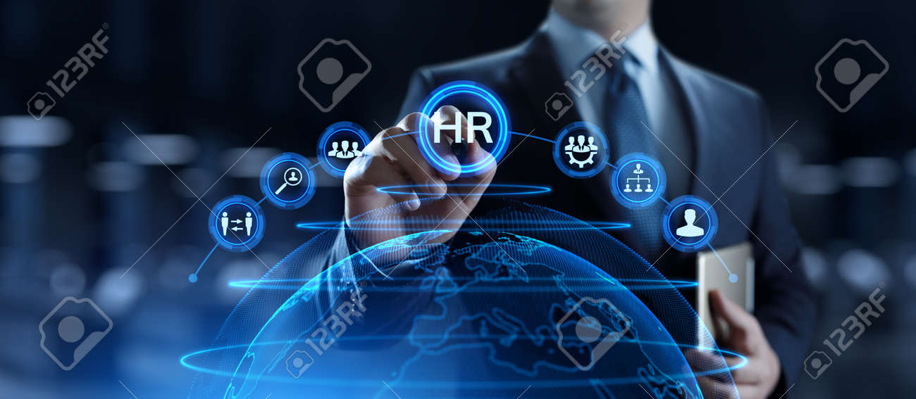 HR Human resources management Recruitment Headhunting. Businessman pressing button on screen. - 162570034