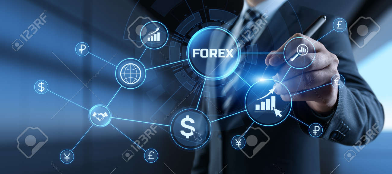 Forex currencies exchange stock market trading investment concept on screen. - 169584293