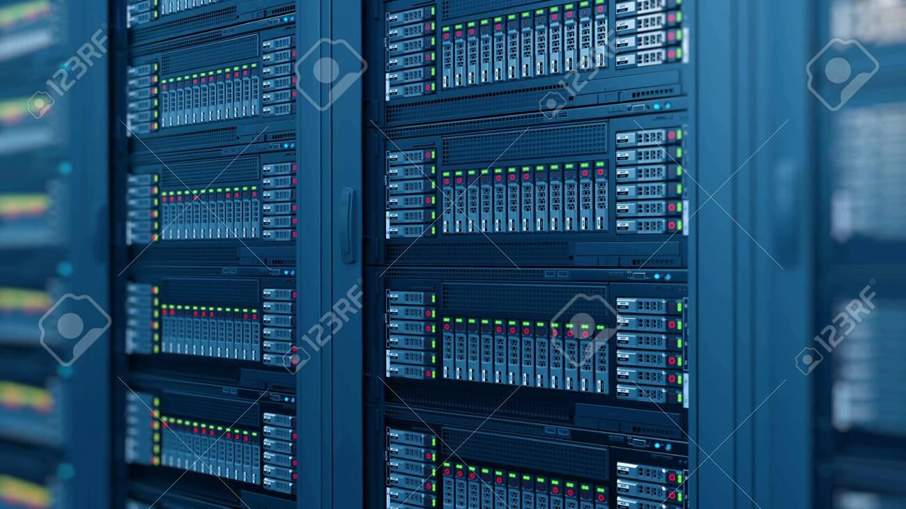 modern computer server racks at data center - 152021807
