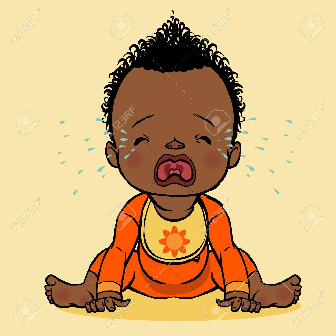 Coloriage Bebe Qui Pleure.Colore De Dessin Anime Vecteur Pleurer Bebe Noir Isole Fond