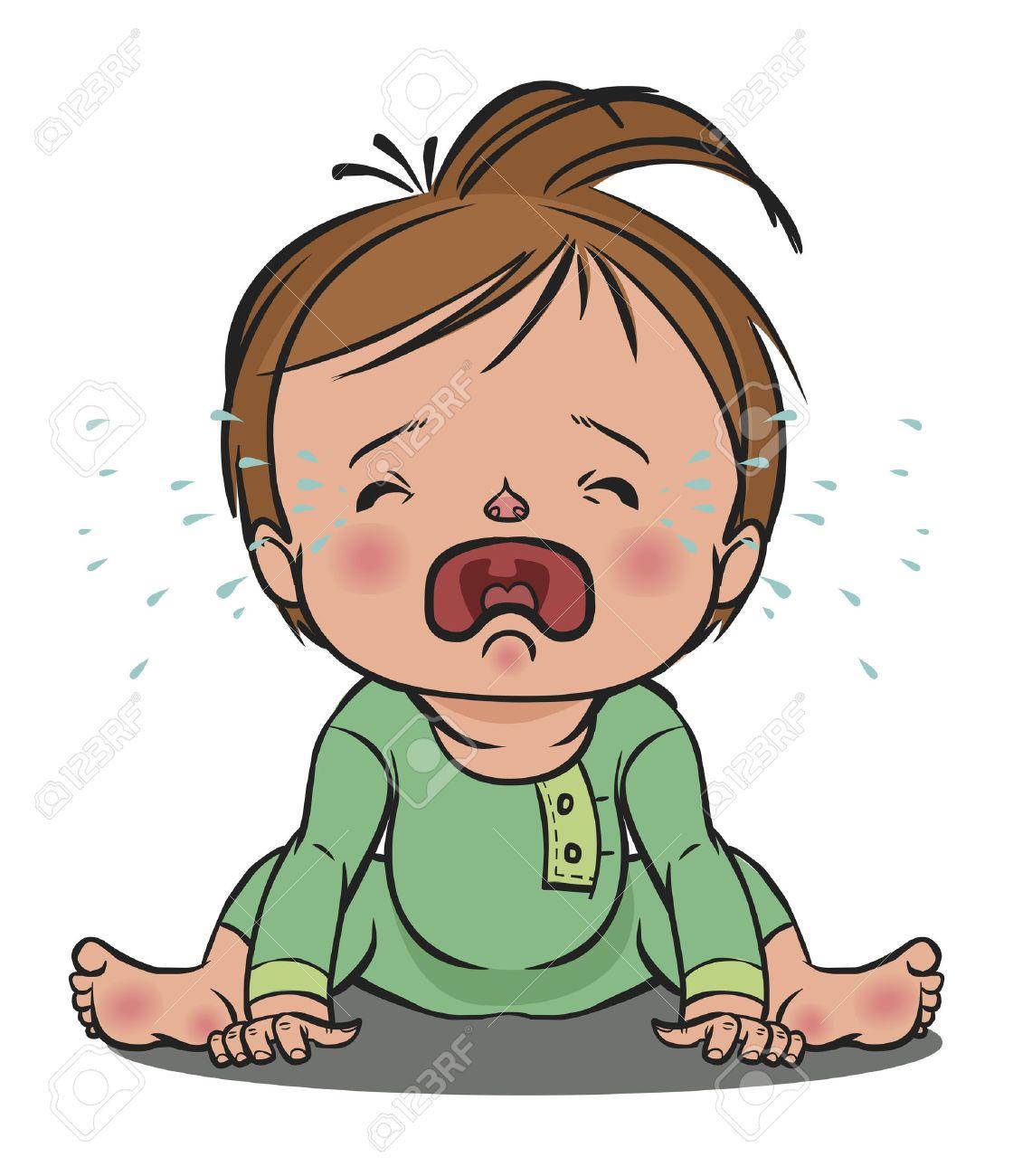 Coloriage Bebe Qui Pleure.Colore De Dessin Anime Vecteur Bebe Qui Pleure Isole Fond