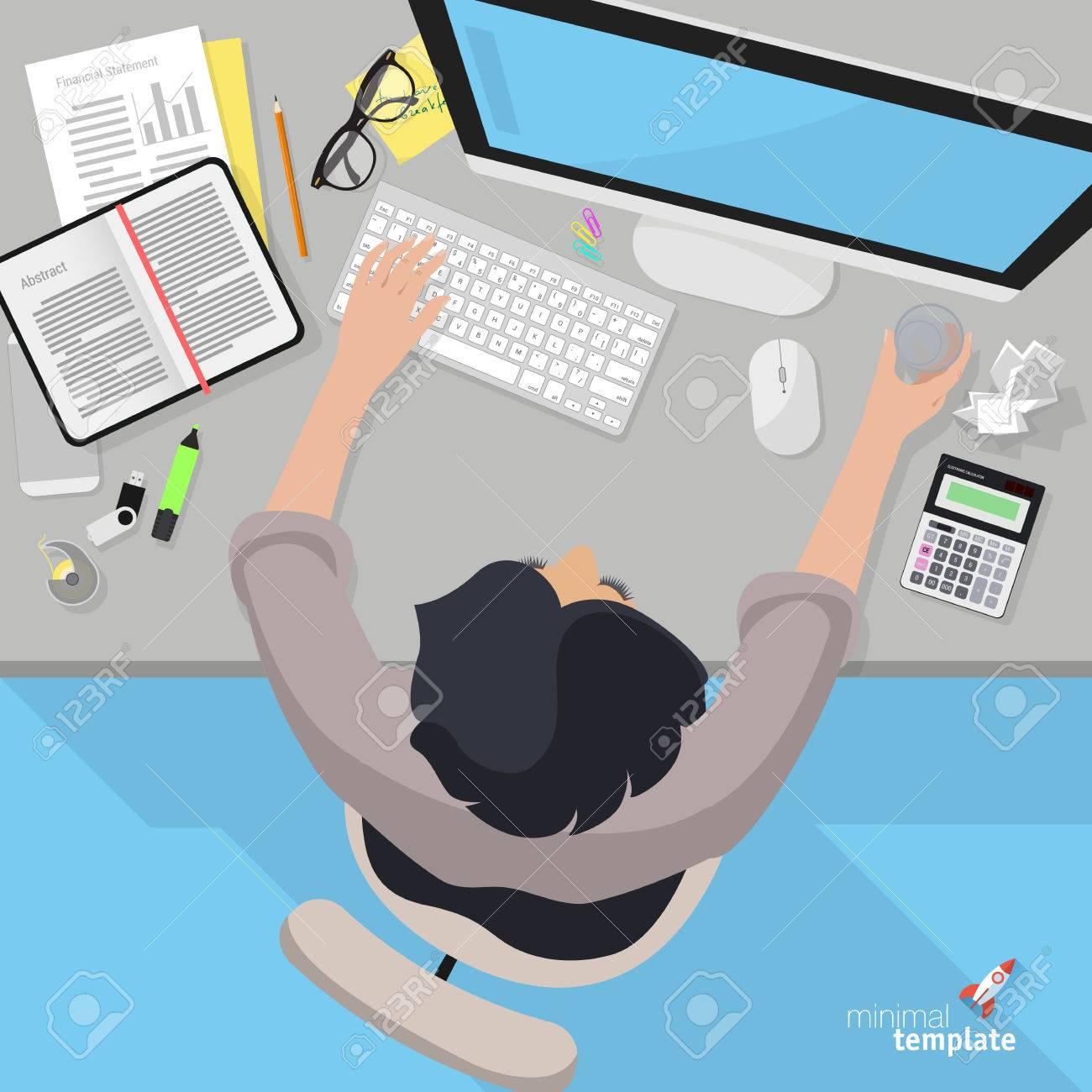 Diseño Plano Vista Desde Arriba Del Lugar De Trabajo La Oficina Del ...