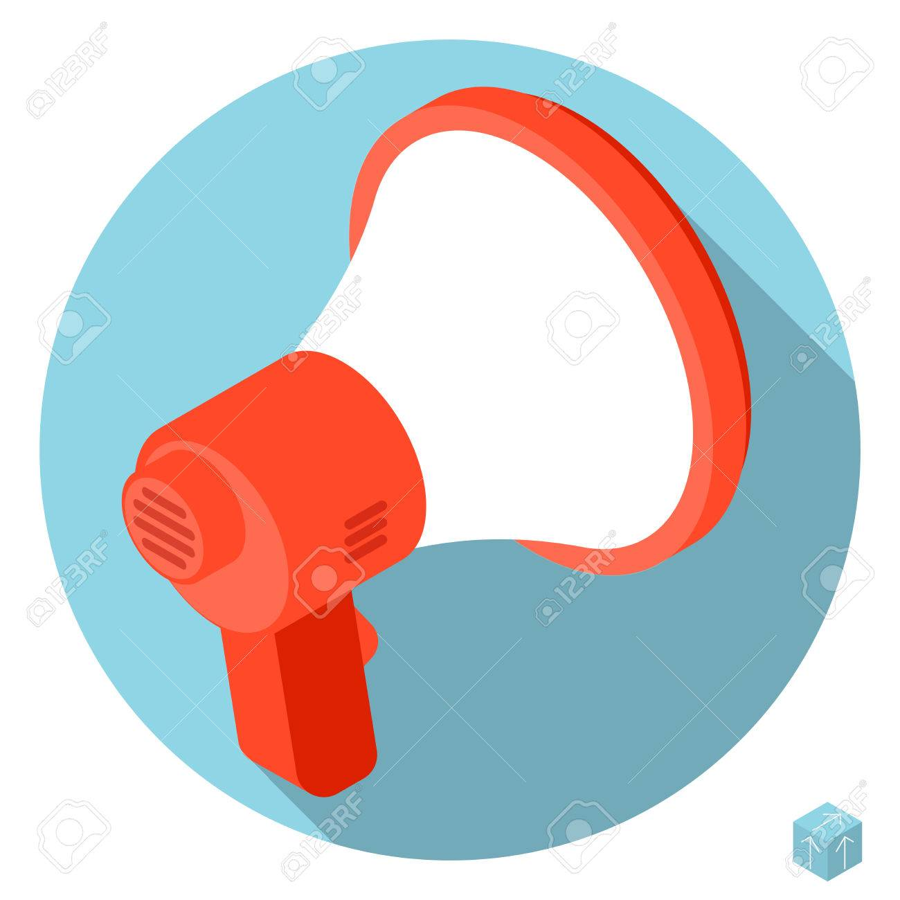 flat design 3d loudspeaker megaphone vector icon with long shadow rh 123rf com  megaphone vector free